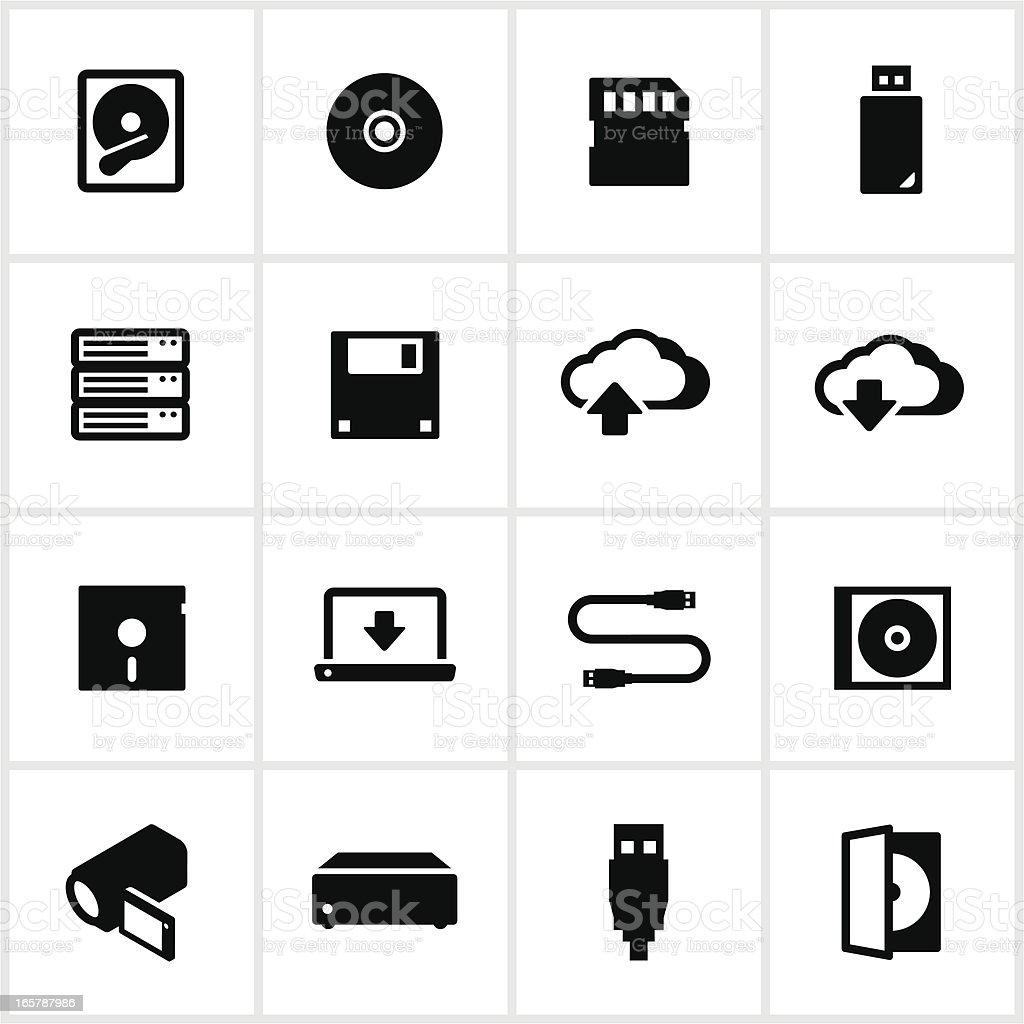 Digital Data Storage Icons vector art illustration