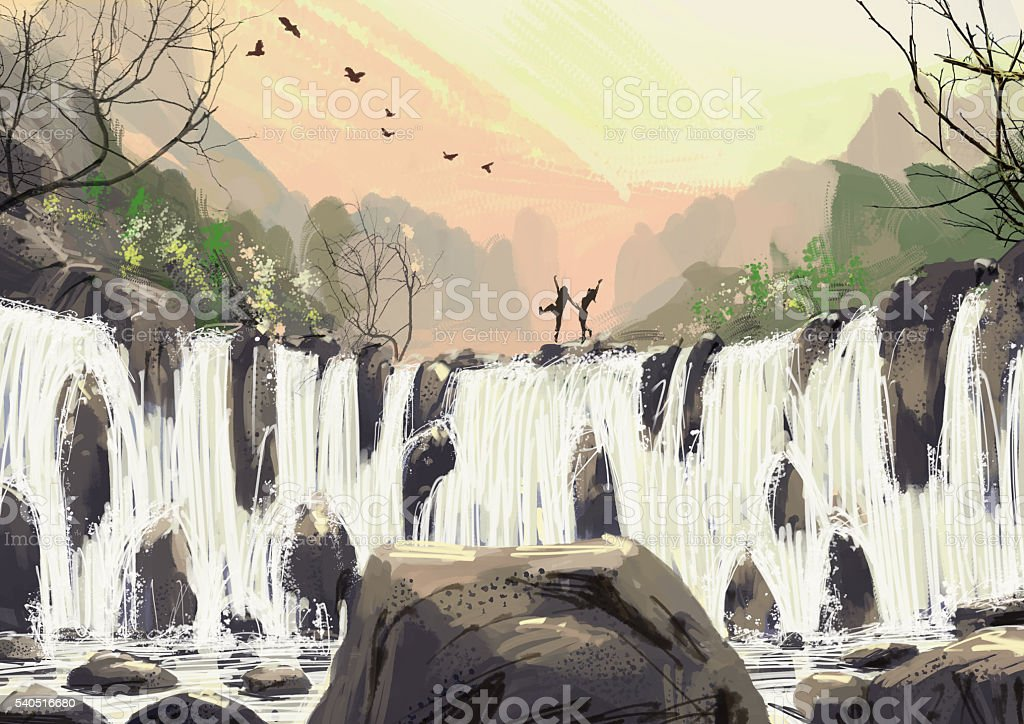 Digital Drawing waterfall The evening atmosphere vector art illustration