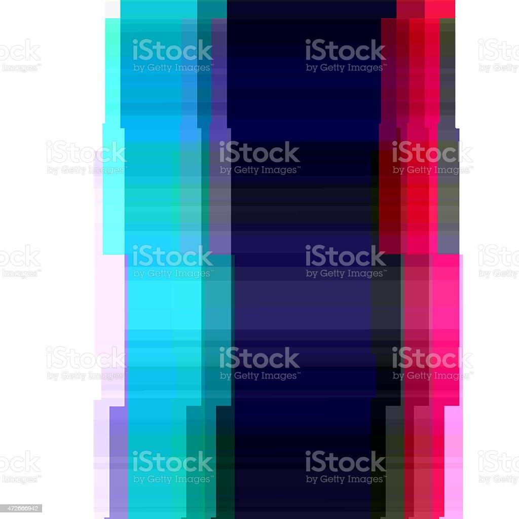 Digital Glitch Cyan Magenta Border Graphic Art Distorted Frame Background vector art illustration