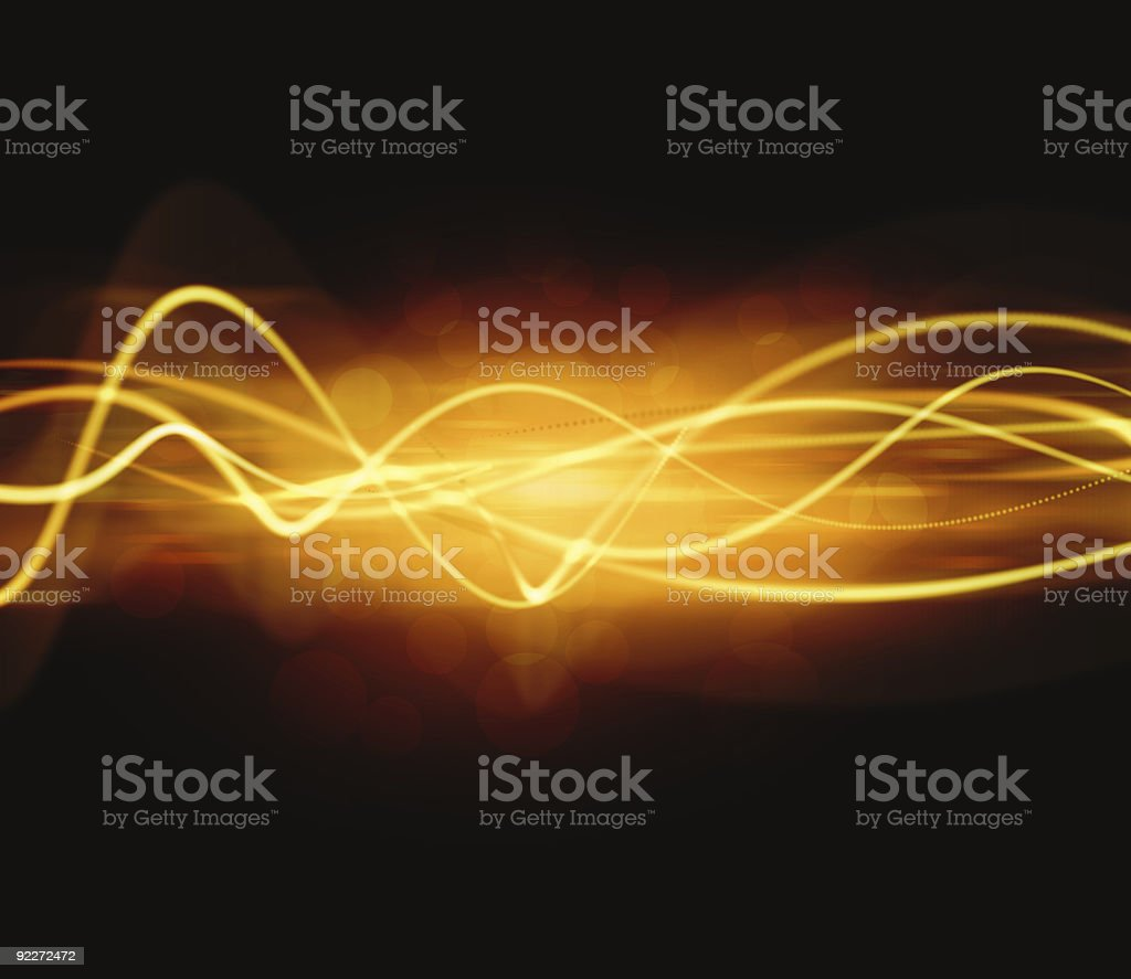 Digital Golden Waves vector art illustration