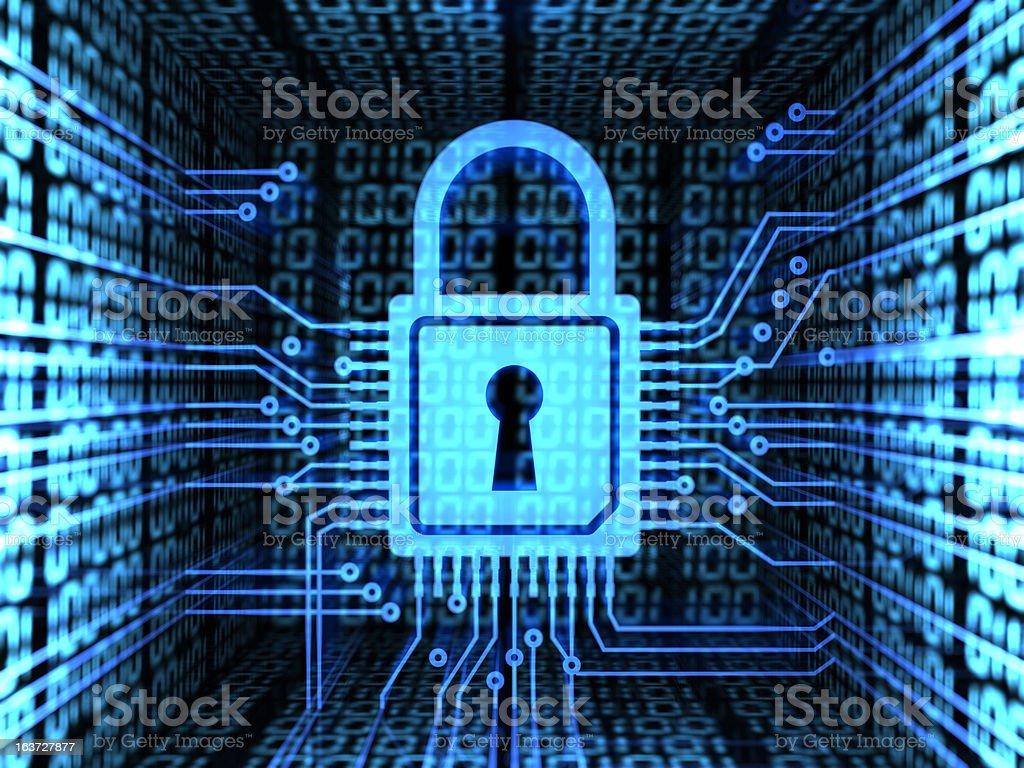 Digital icon of a lock representing computer security vector art illustration