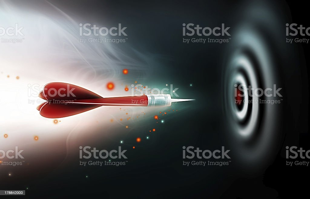 Digital illustration of a flying red dart near a dartboard royalty-free stock vector art