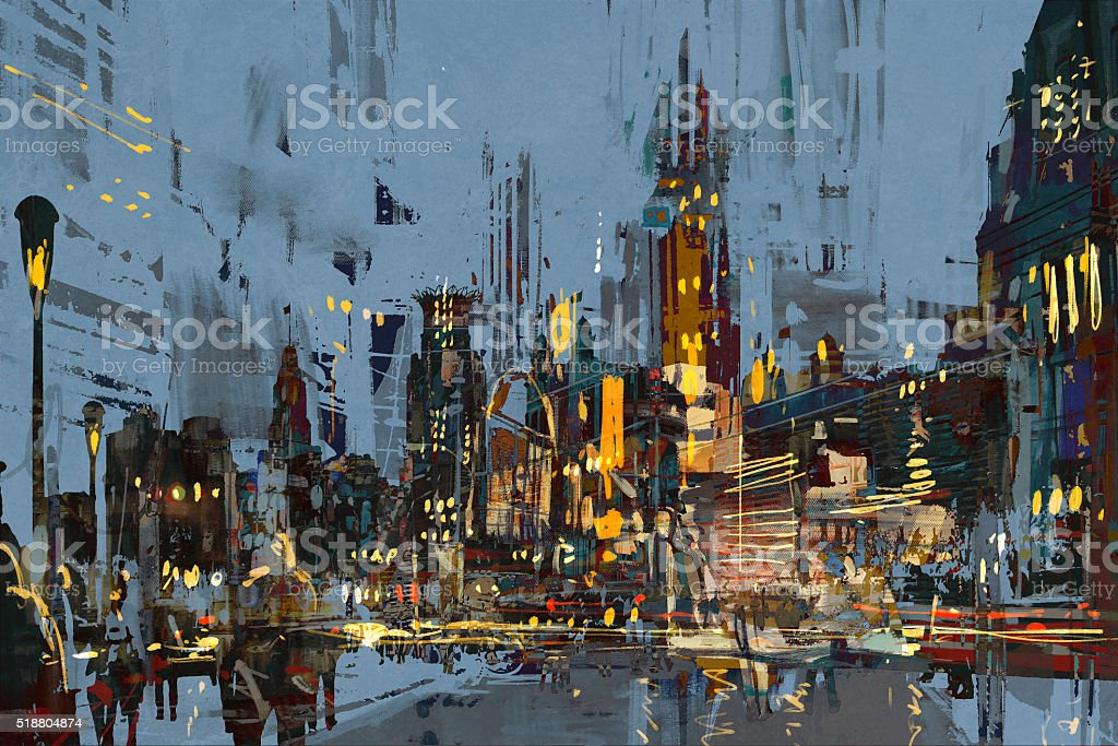 digital painting of city at night with colorful lights. vector art illustration