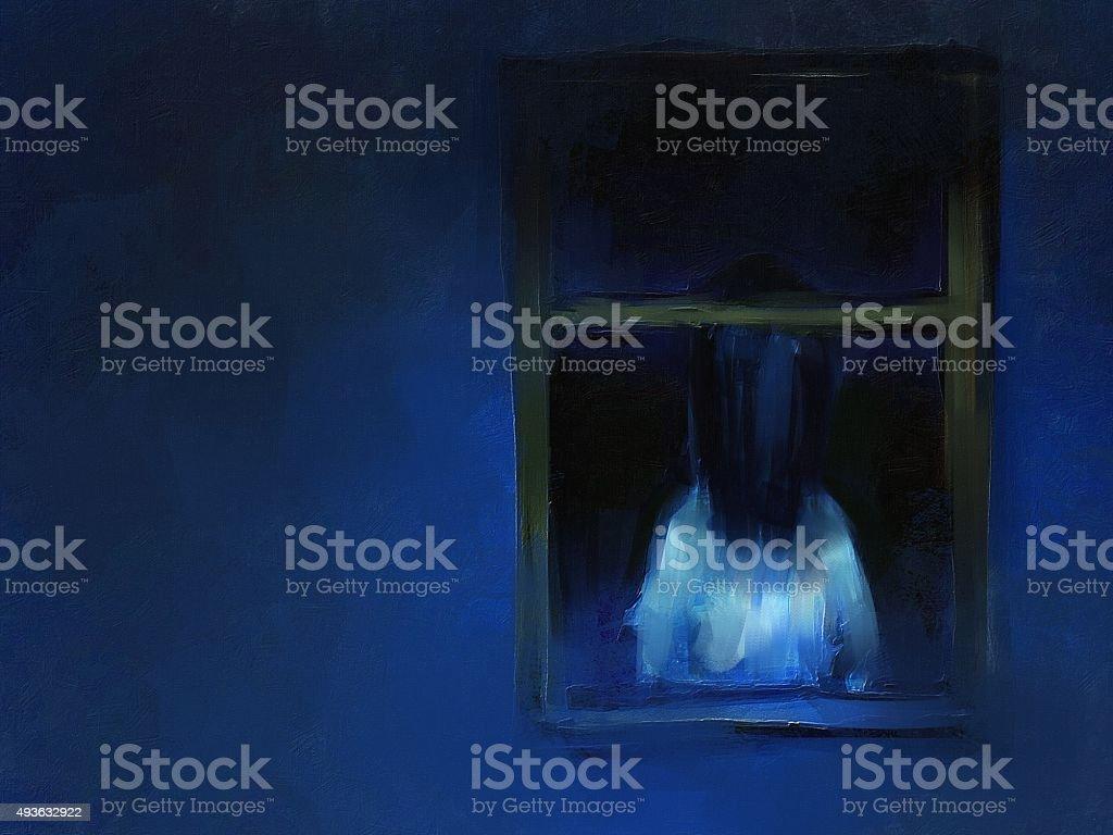 digital painting of horror girl behind the window vector art illustration