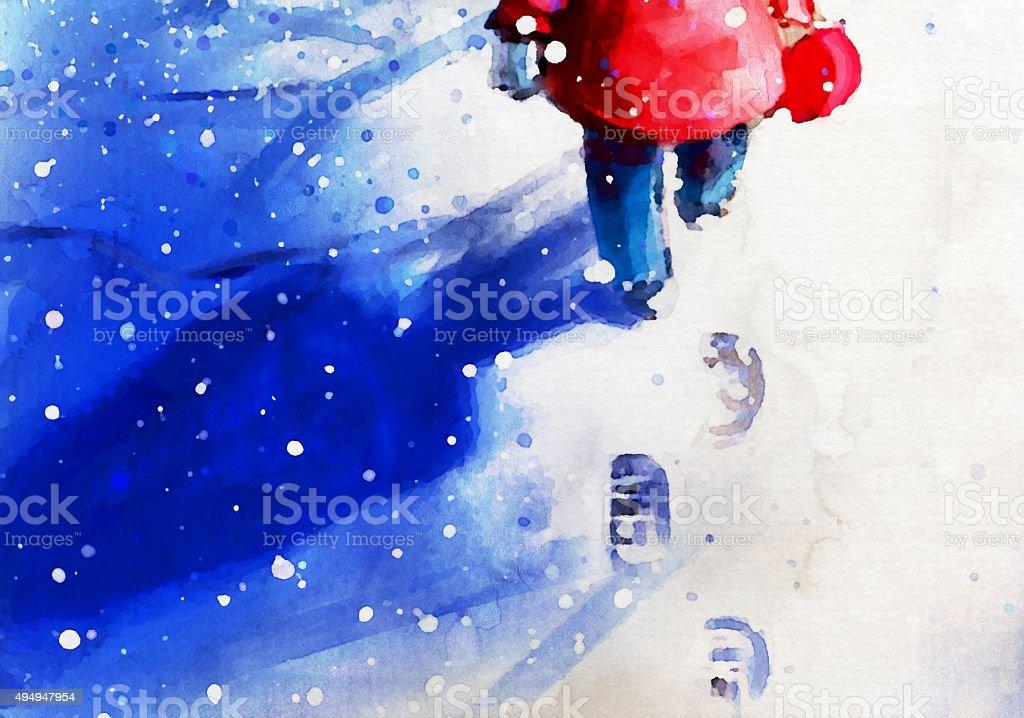 digital painting of little girl walking in winter outdoor vector art illustration