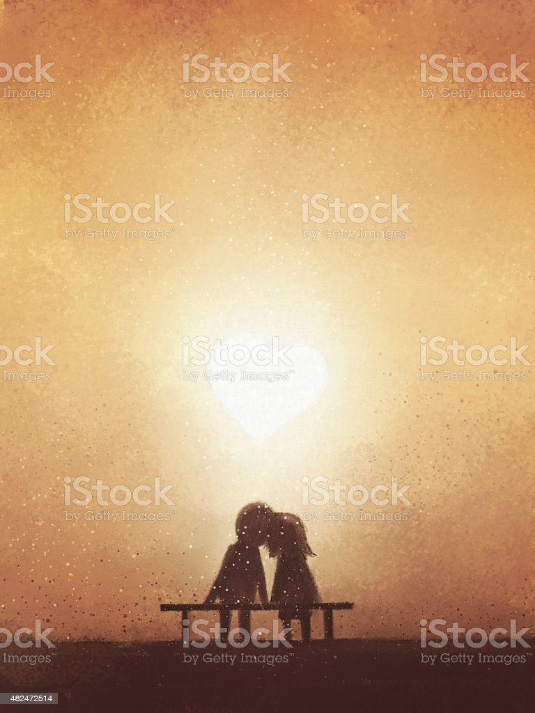 digital painting of love couple on bench watching heart-shaped sunset vector art illustration