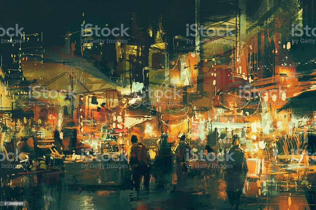 digital painting of people walking in the market at night vector art illustration