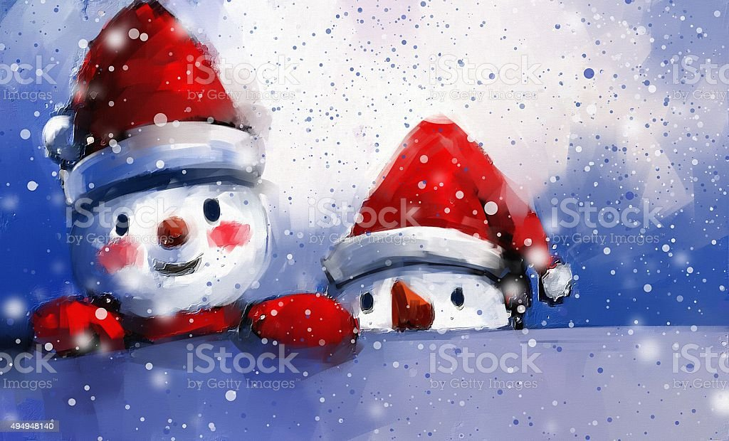 digital painting of snowman and friends in winter vector art illustration