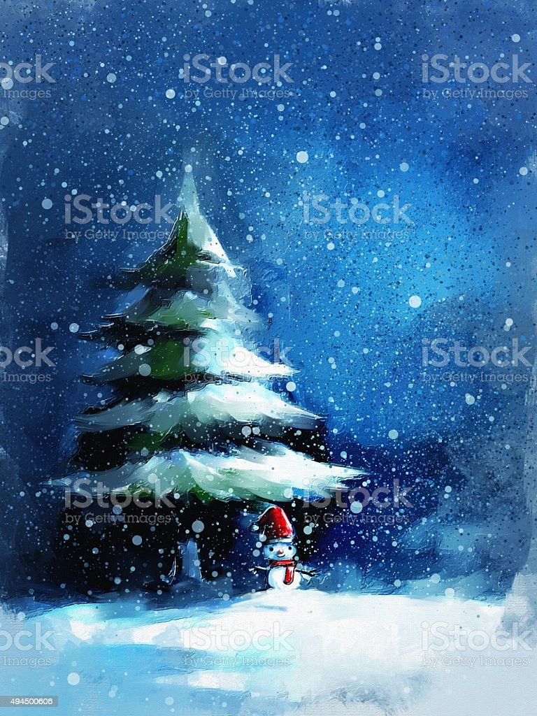 digital painting of snowman and pine tree vector art illustration