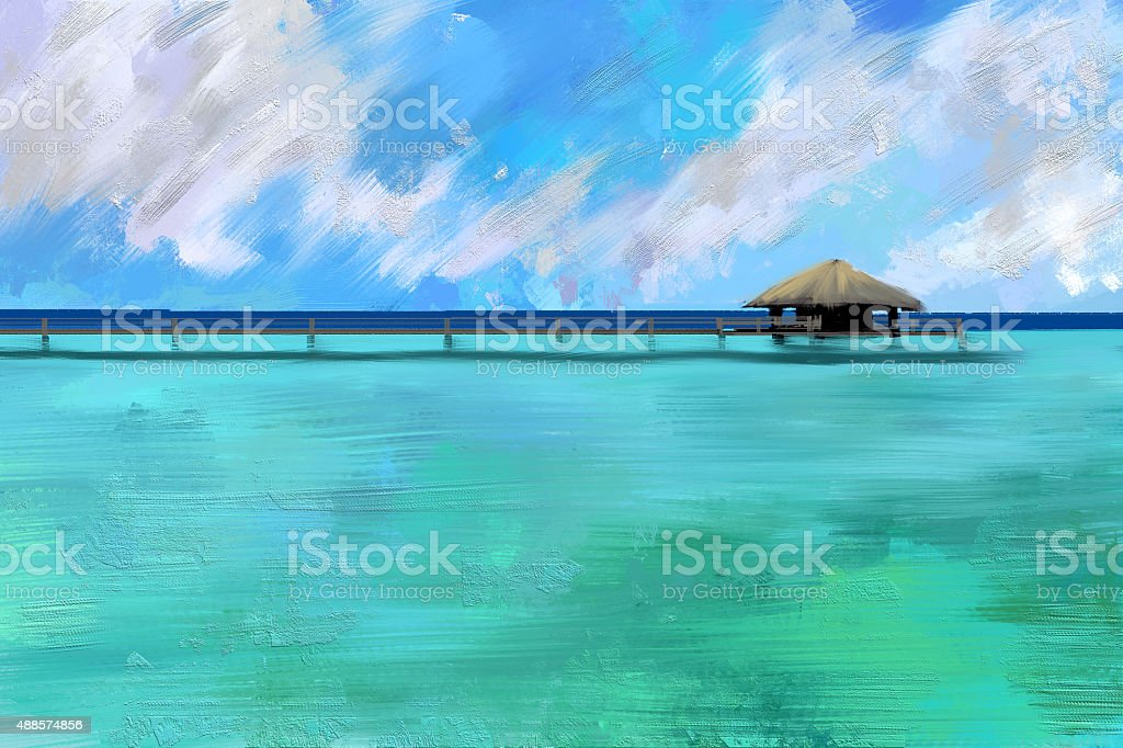 digital painting of water bungalows on blue ocean vector art illustration