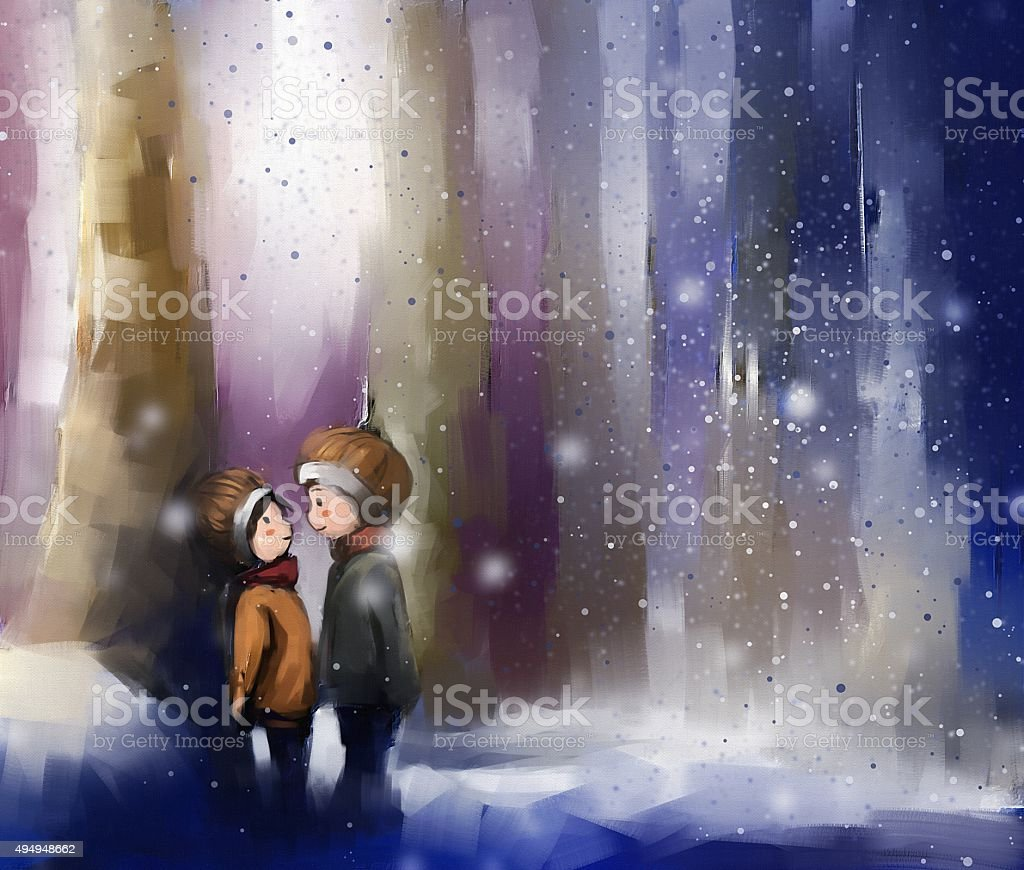 digital painting of young couple on wintertime outdoor vector art illustration