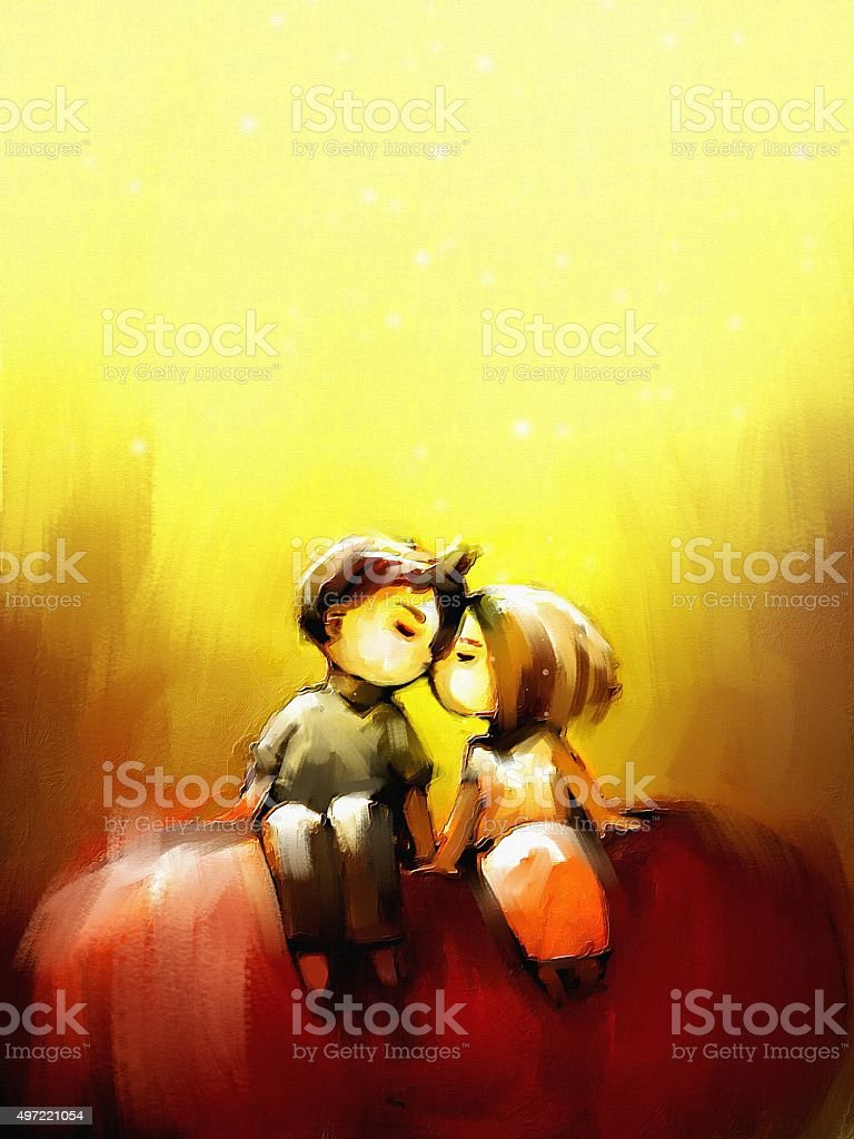 digital painting of young couple sitting on red heart symbol vector art illustration