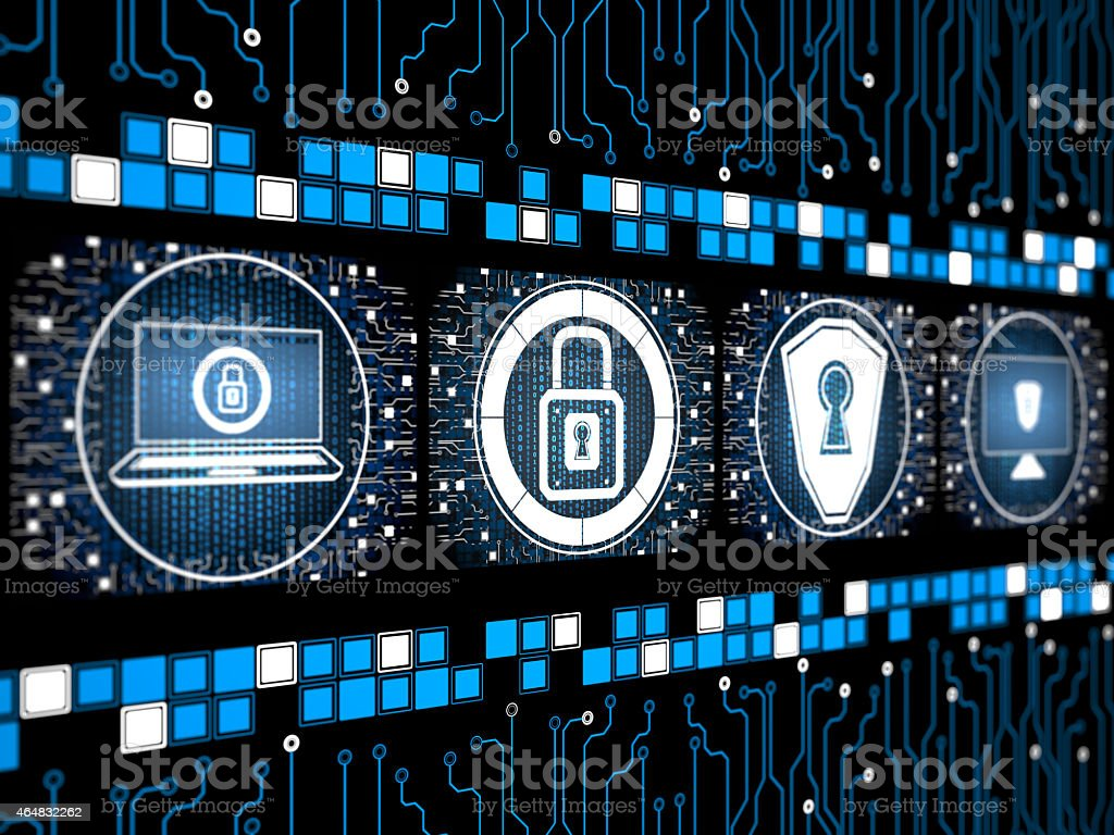 Digital security concept screen vector art illustration