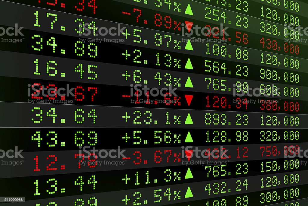 Digital Stock exchange panel vector art illustration
