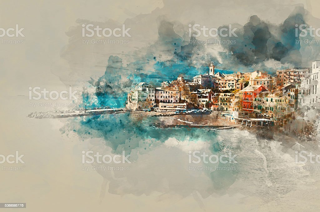 Digital watercolor painting of Bogliasco. Italy vector art illustration