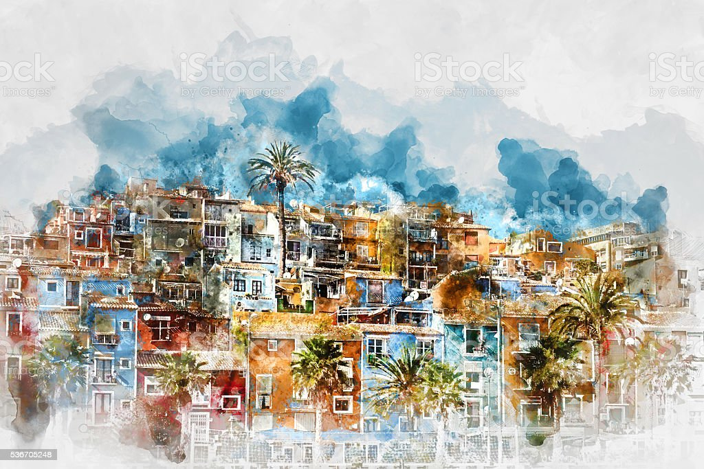 Digital watercolor painting of Villajoyosa skyline. Spain vector art illustration