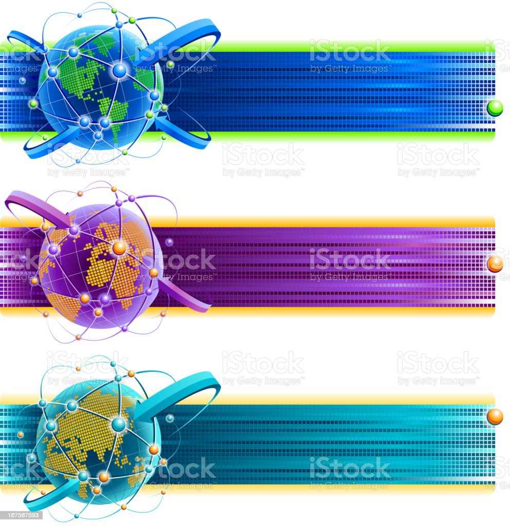 Digital world global communications banners royalty-free stock vector art