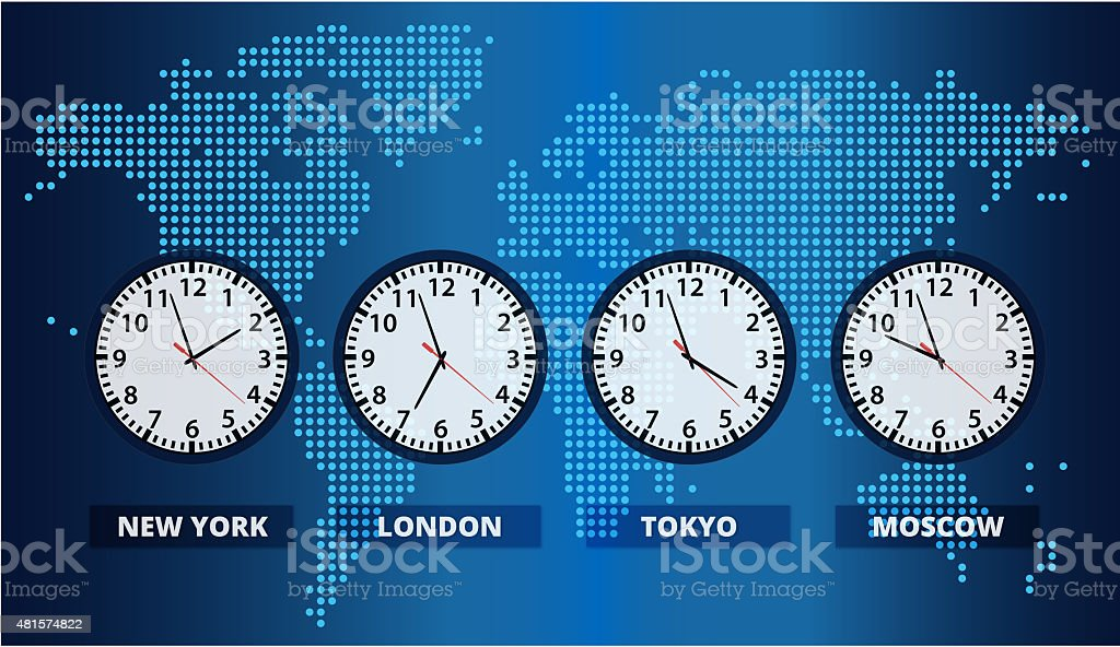 Digital World Map with Time Zone Clocks vector art illustration