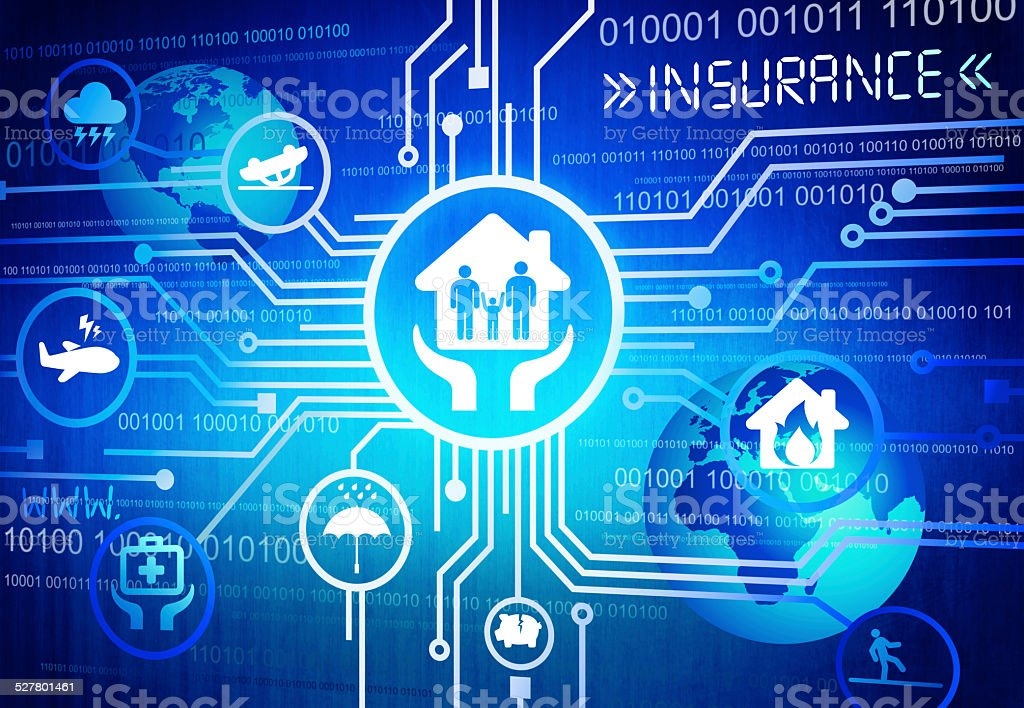 Digitally Generated Image of Insurance Concept vector art illustration
