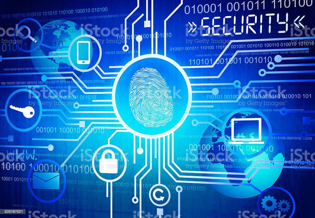 Digitally Generated Image of Online Security Concept vector art illustration