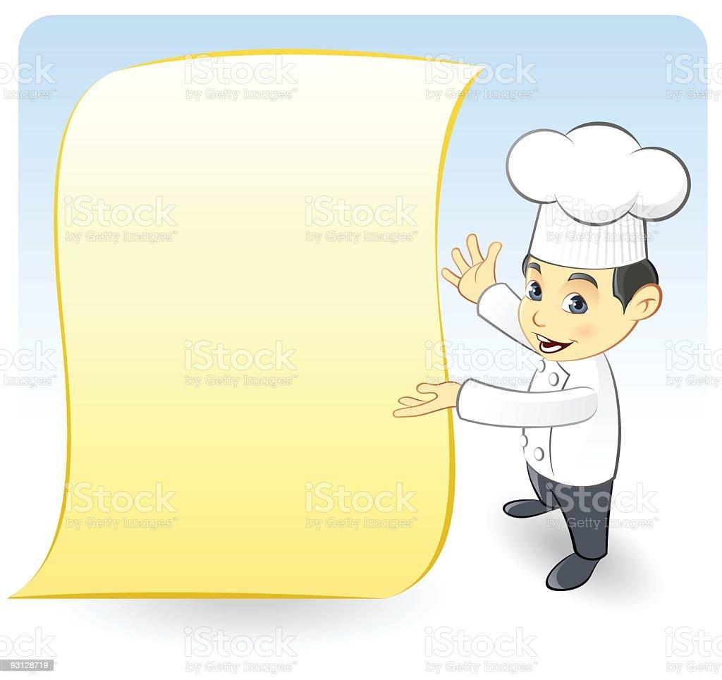 Dining Chef Presenting Menu royalty-free stock vector art