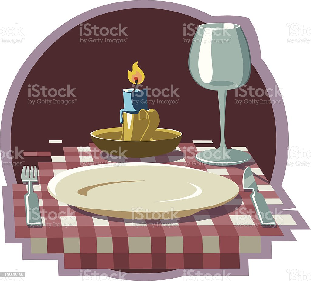 Dinner by candlelight royalty-free stock vector art