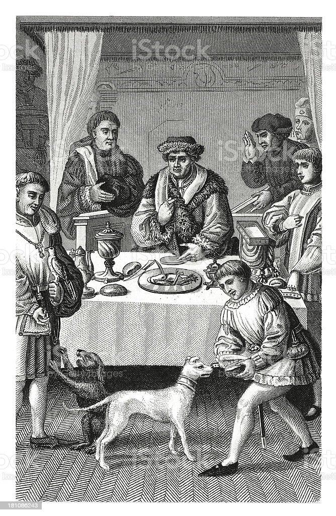 Dinner in XV century (antique wood engraving) royalty-free stock vector art