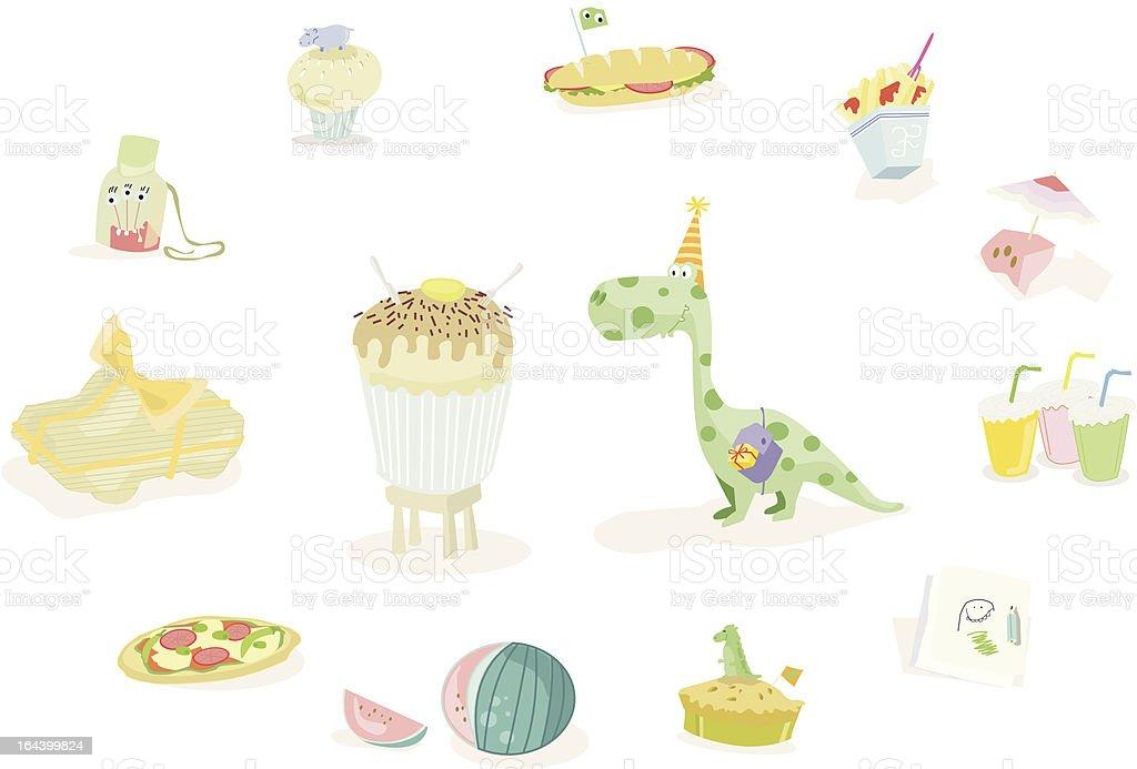 Dinobirthdayparty! vector art illustration