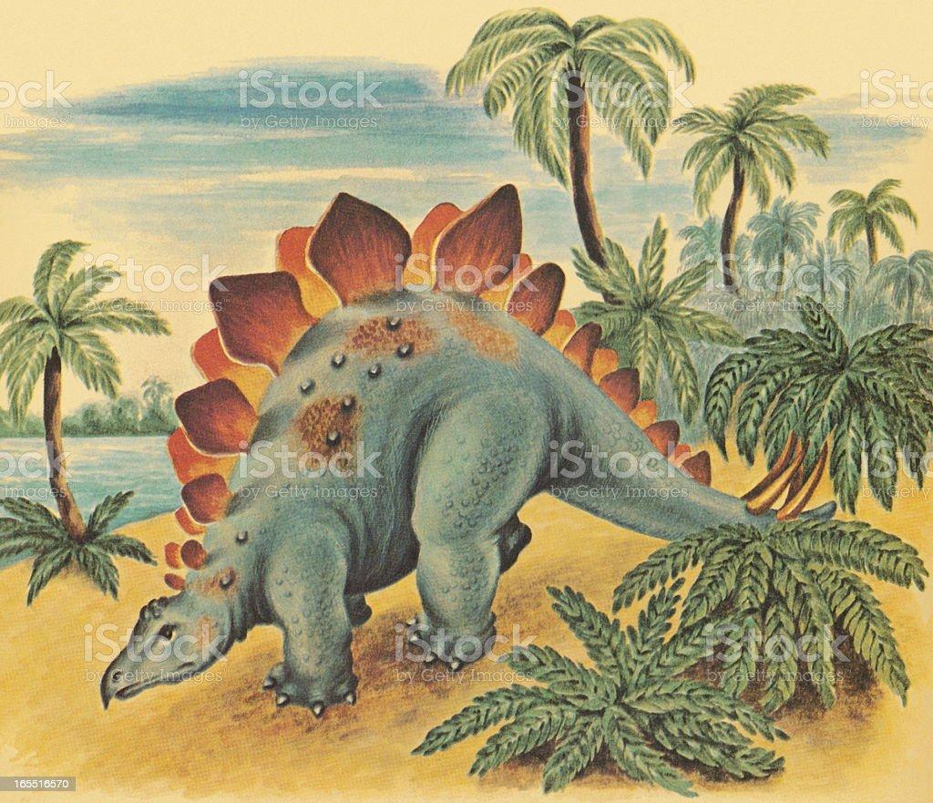 Dinosaur in the Wilderness vector art illustration