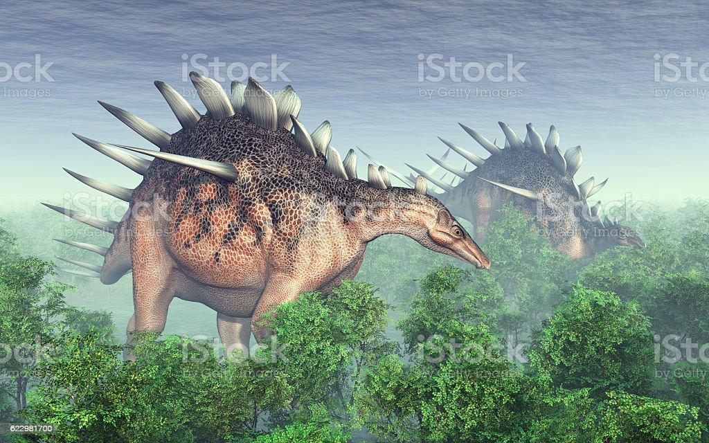 Dinosaur Kentrosaurus vector art illustration