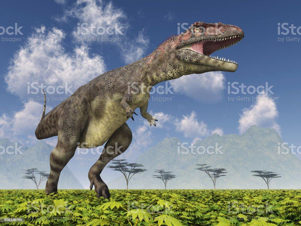 Dinosaur Mapusaurus vector art illustration