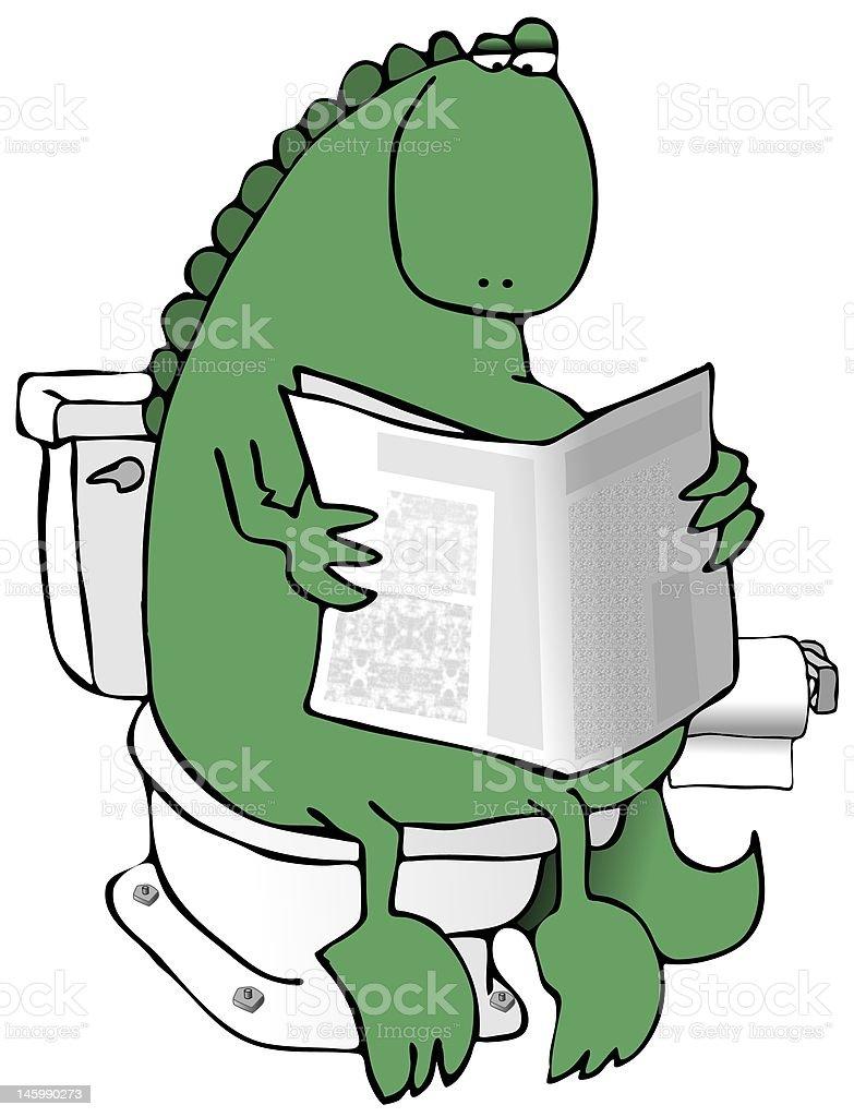 Dinosaur On A Toilet vector art illustration
