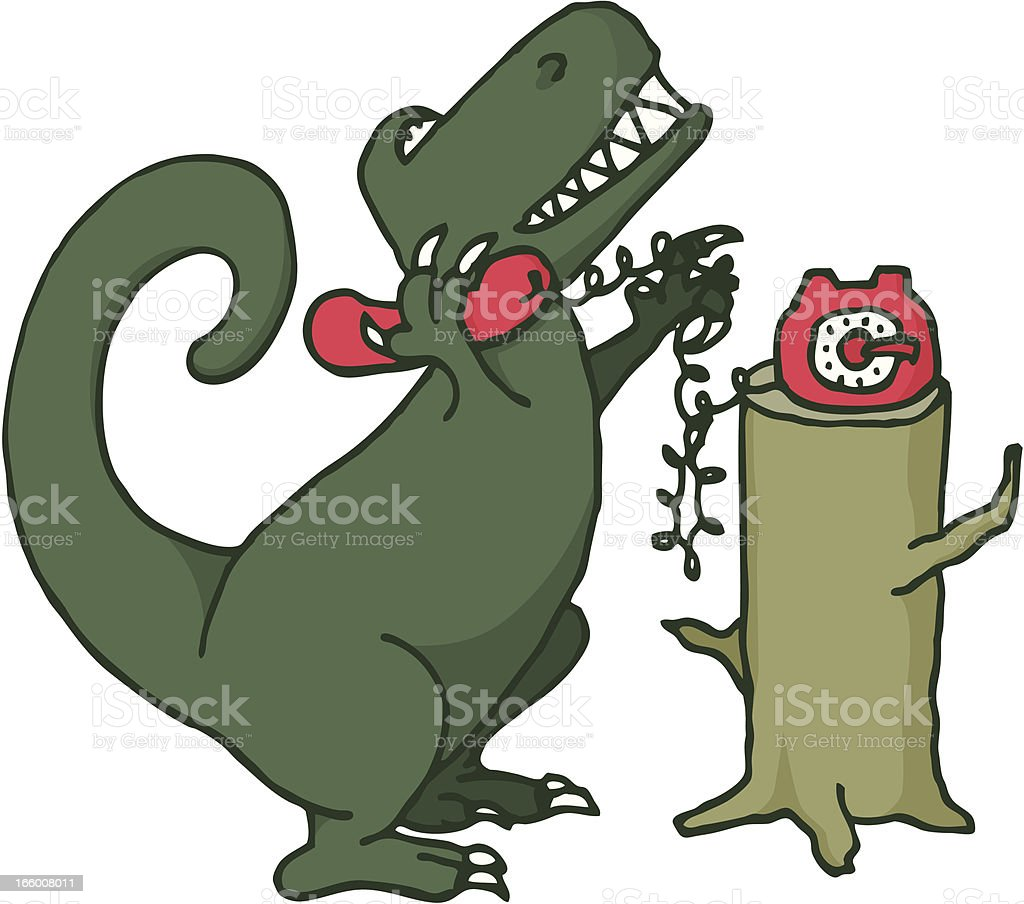 Dinosaur talking on the phone royalty-free stock vector art