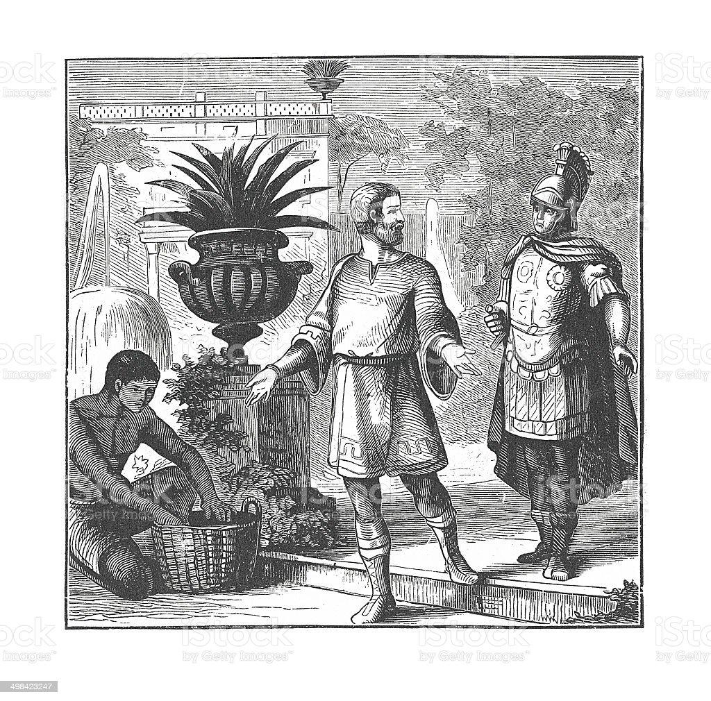 Diocletian in Retirement (antique engraving) vector art illustration