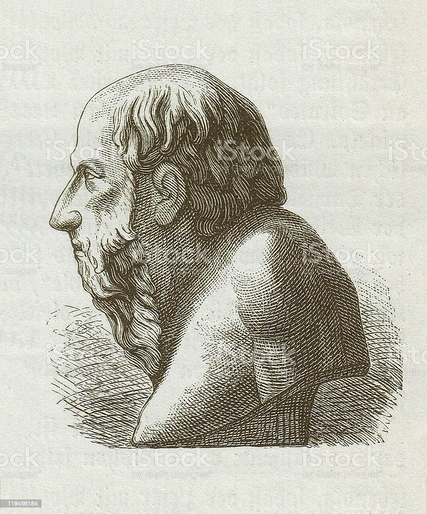 Diogenes of Sinope (c. 400/390-328/323 BC), wood engraving, published 1882 vector art illustration