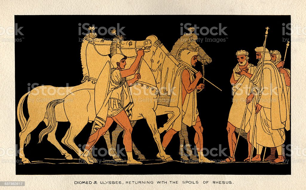 Diomed and Ulysses returning with the spoils of Rhesus vector art illustration