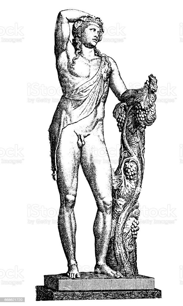 Dionysus god of the vine vector art illustration