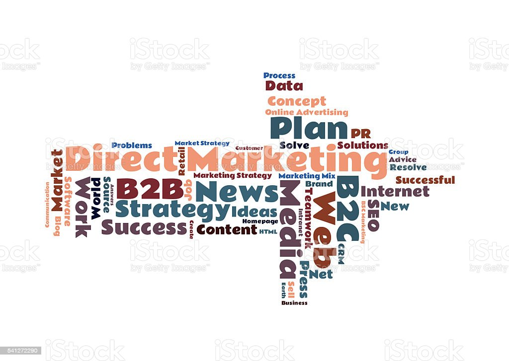 Direct Marketing word cloud stock photo