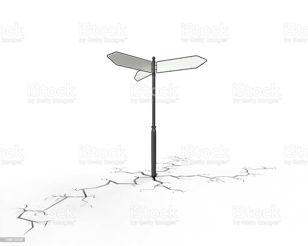 Direction sign  on cracked ground, bottom royalty-free stock vector art