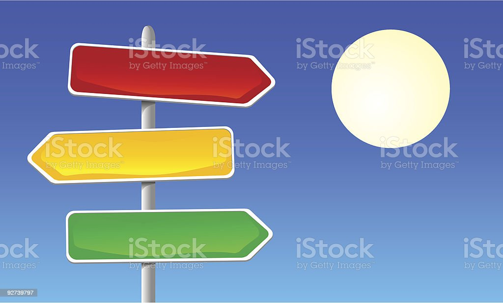Direction Signs against clear sky royalty-free stock vector art