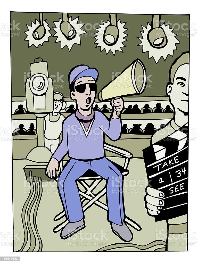 Director of a big movie vector art illustration