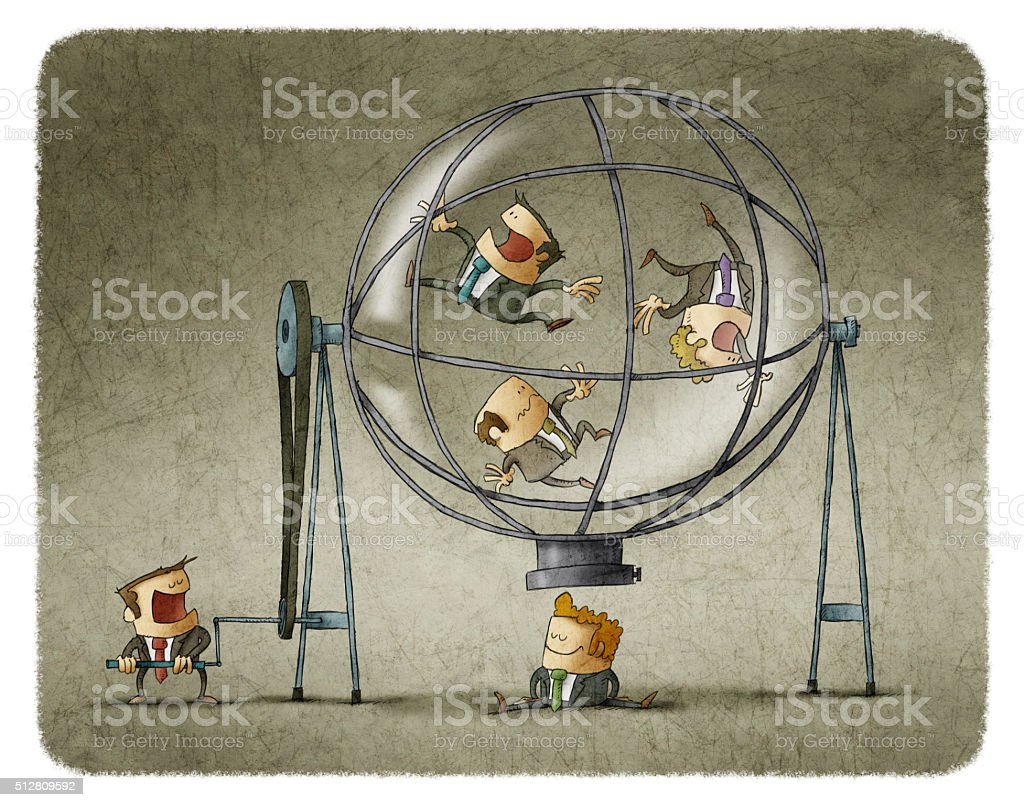 Director rotating businessmen in sphere vector art illustration