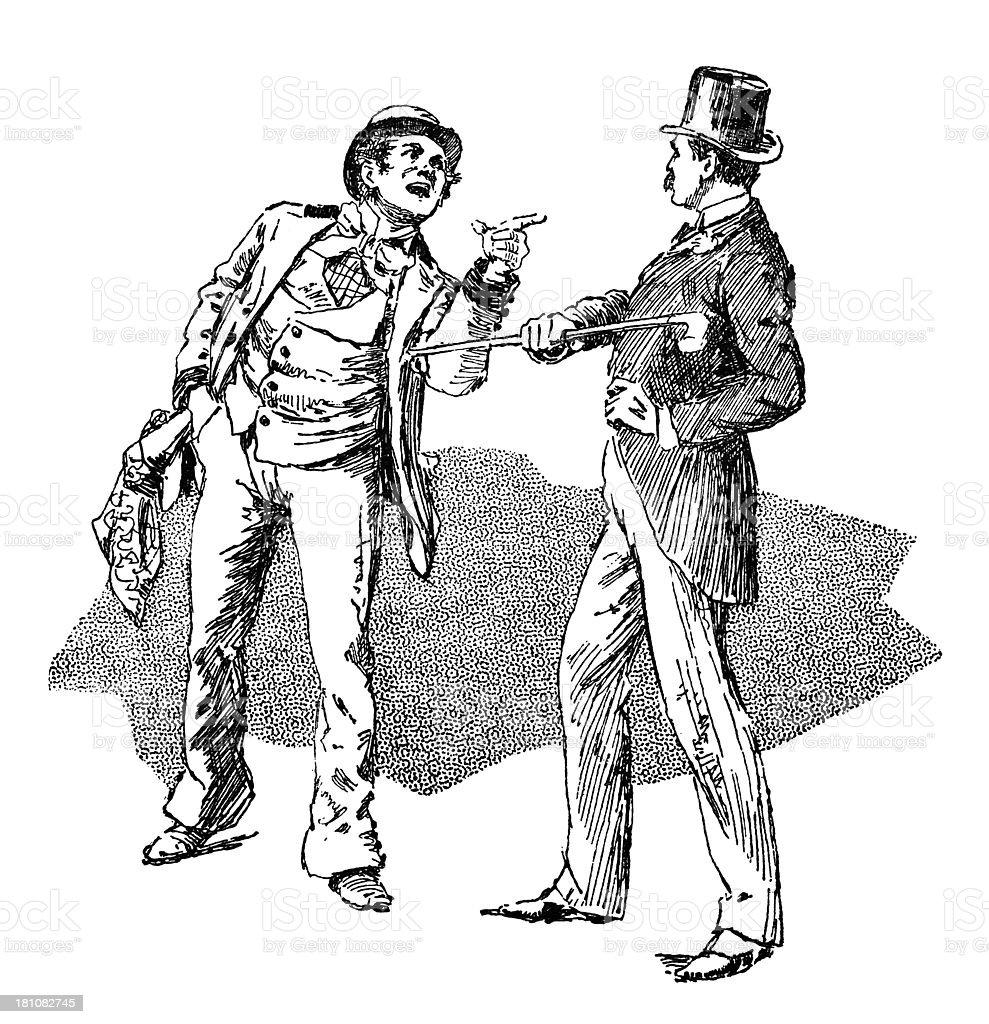 Disagreement between two men vector art illustration