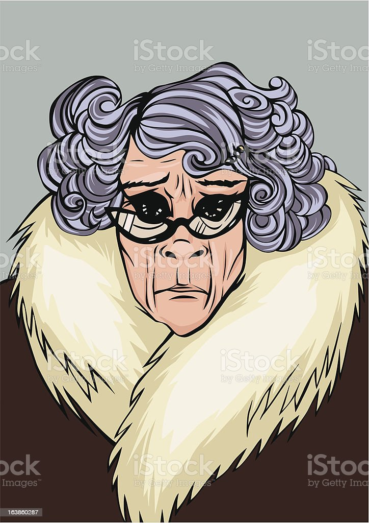 Disapproving Old Lady vector art illustration