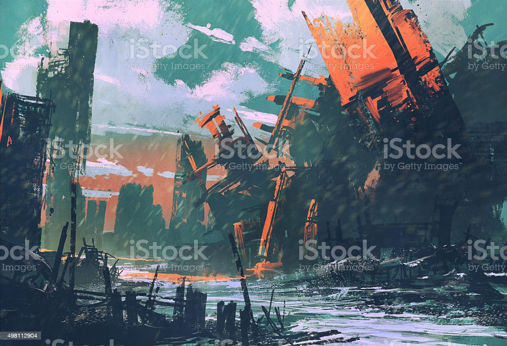 disaster city,apocalyptic scenery vector art illustration