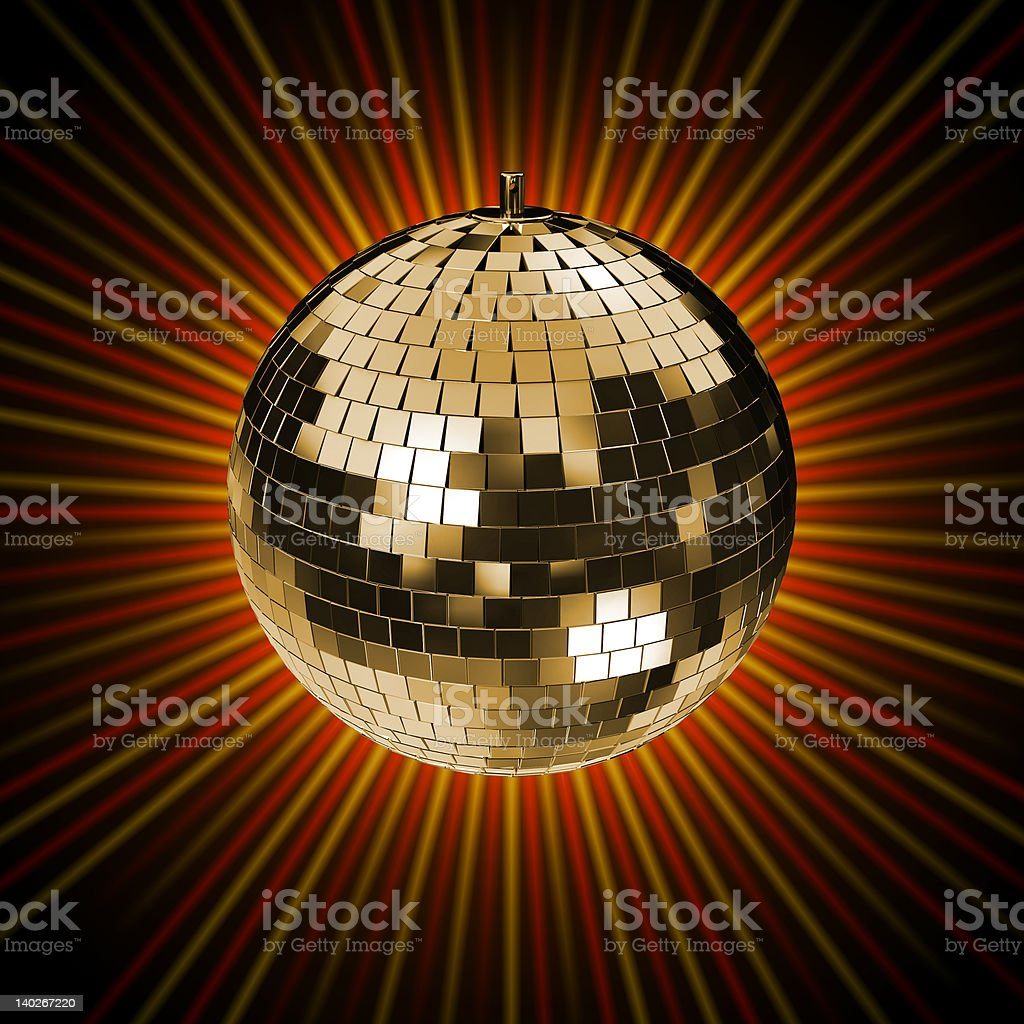 Disco Mirrorball with red and golden rays royalty-free stock vector art