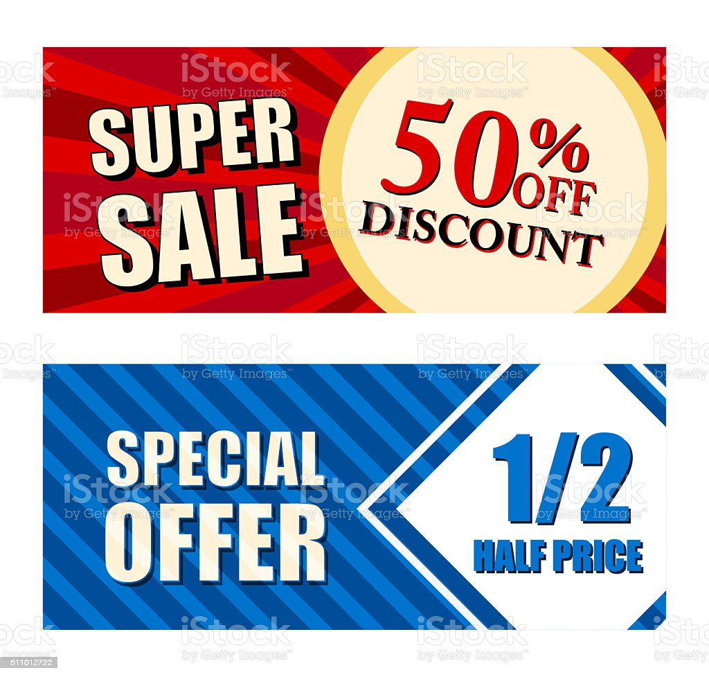 discount super sale, special offer half price, two vouchers stock photo