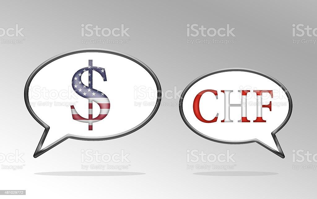 Discussing Currencies Speech Bubbles vector art illustration