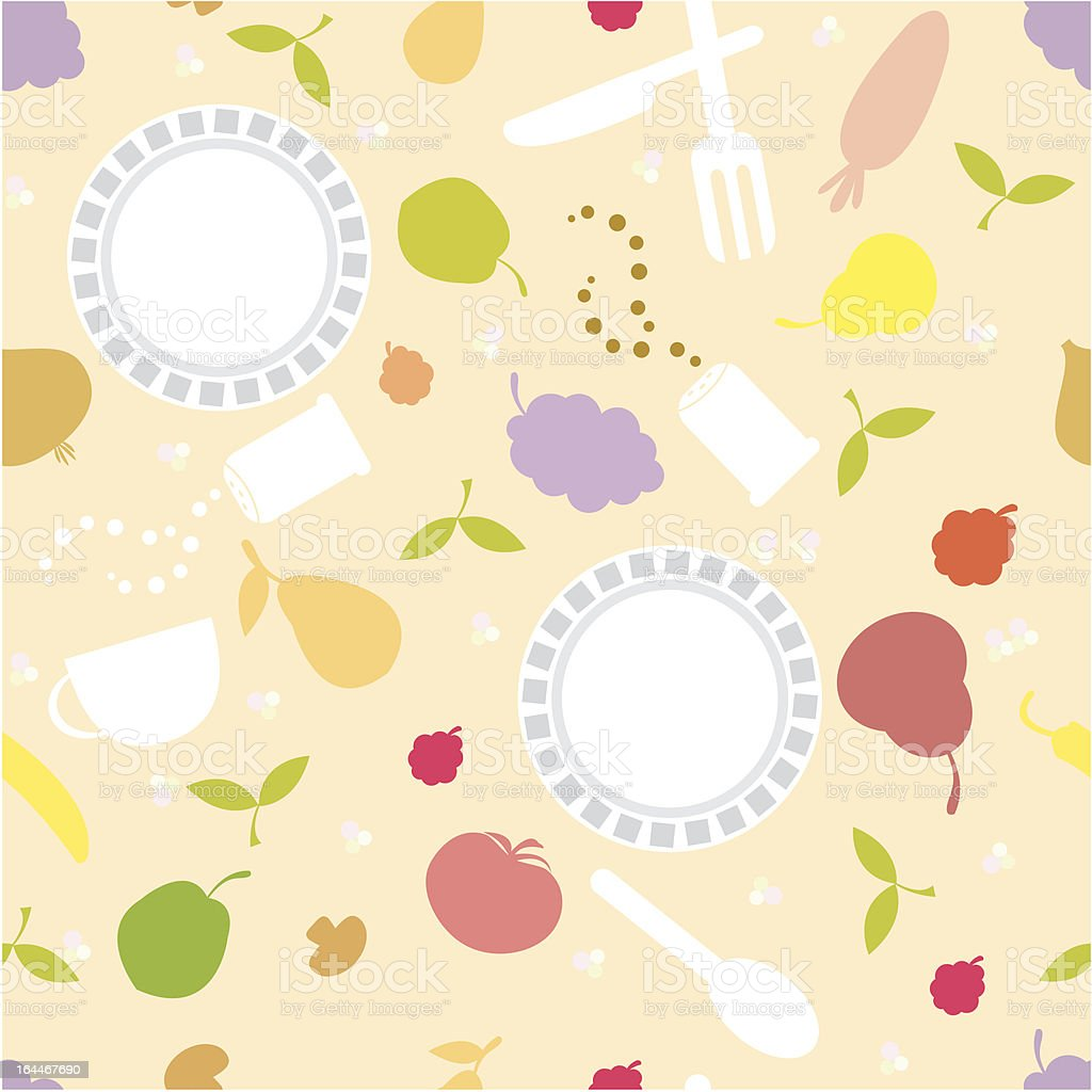 dish and food seamless background vector art illustration