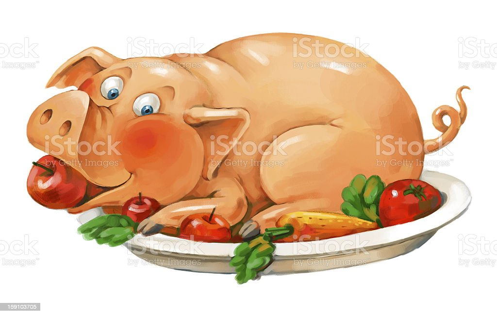 Dish of pork royalty-free stock vector art